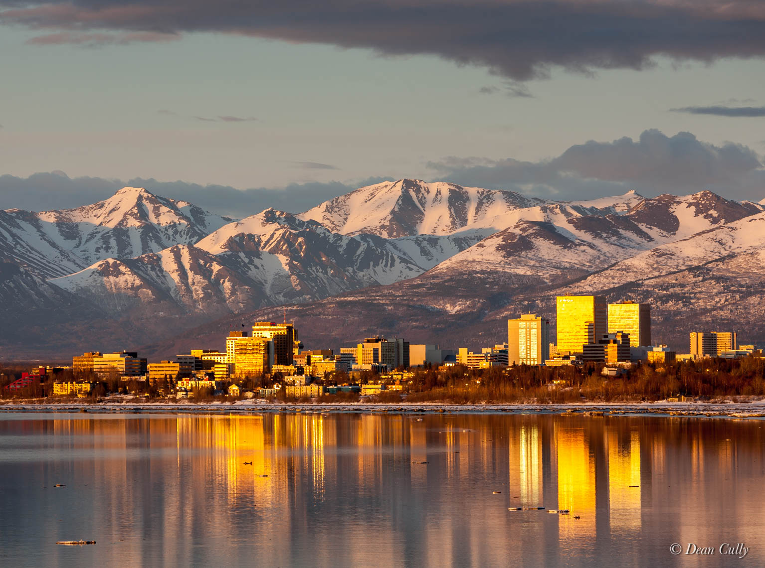 Golden Glow Anchorage Skyline; south-central Alaska