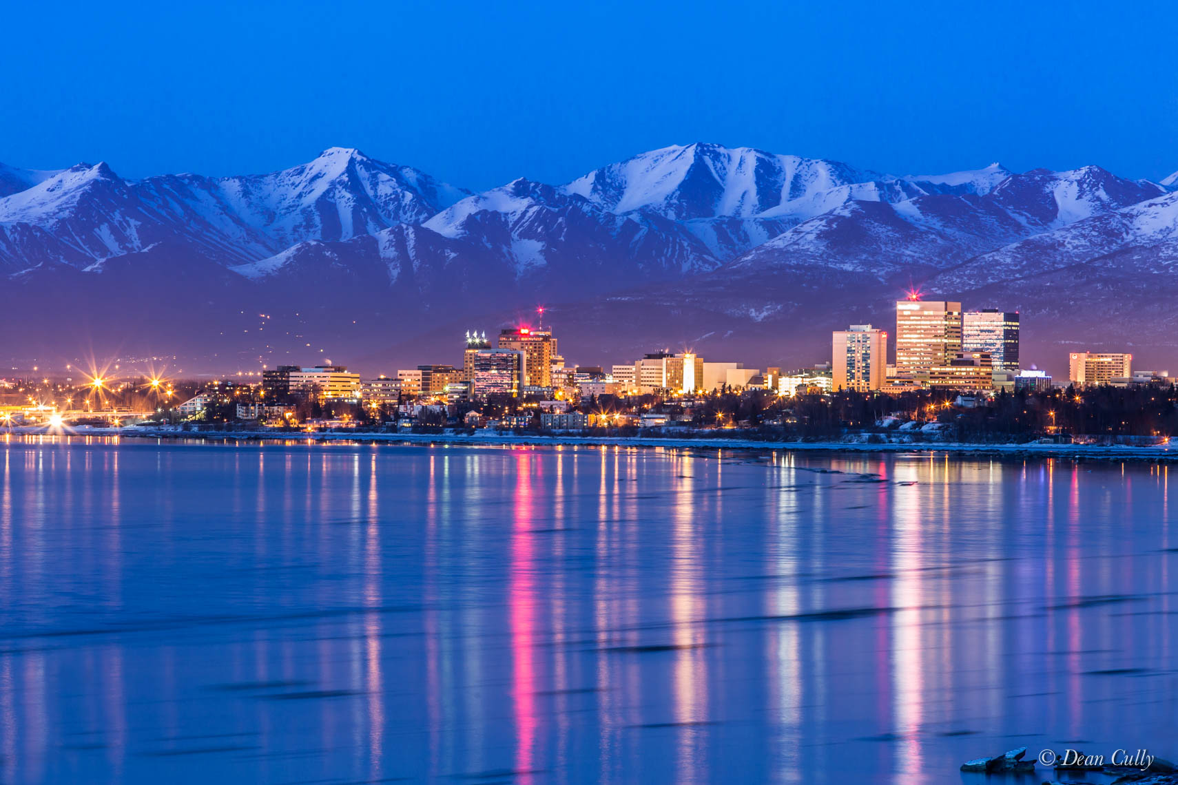 Anchorage Skyline at Dusk; south-central Alaska