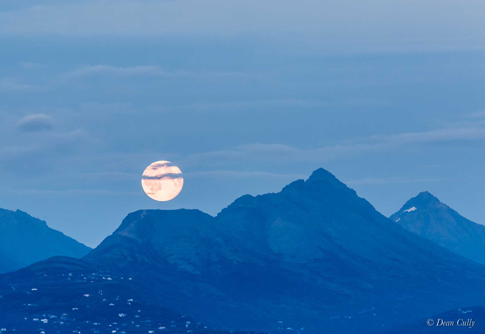 Moonrise over Flattop in the Chugach Range—Anchorage, Alaska